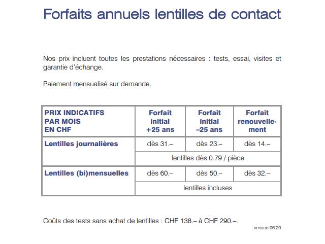 prix de nos services Kress Optic opticiens à Genève, lentilles et lunettes
